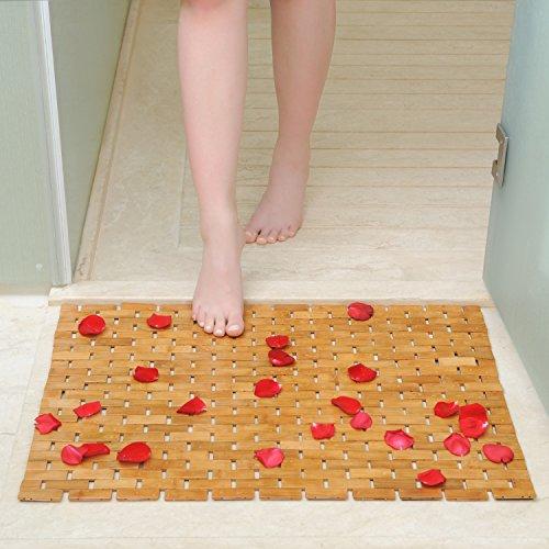 HANKEY Luxury Multipurpose Bamboo Bath Mat For Shower Spa Sauna with Non Slip Feet   Indoor Outdoor Use for Kitchen Bedroom Bathroom Toilet Doormat Pet Mat   70 x 50 cm (27.6 x 19.7) by HANKEY (Image #4)