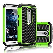Motorola Moto G G3 3rd Gen XT1540 Rugged Impact Heavy Duty Dual Layer Shock Proof Case Cover Skin - Green