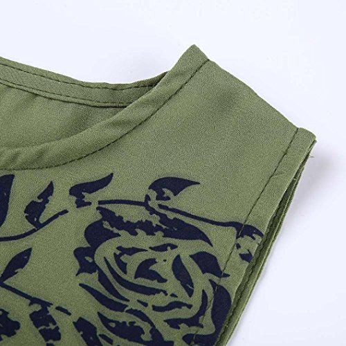 Maglia Chic Abbigliamento Canotte Canotta Color Top Fashion Green Casual Stampa Elegante Tank Girocollo Donna Army Allentato shirt senza T maniche Pure Camicetta Adeshop Vest FqwPRAU