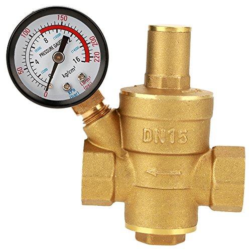 Pressure Reducing Valve, DN15 1/2inch Brass Water Pressure Reducing Valve 1/2'' Adjustable Water Control Pressure Regulator Valve Thread with Gauge Meter