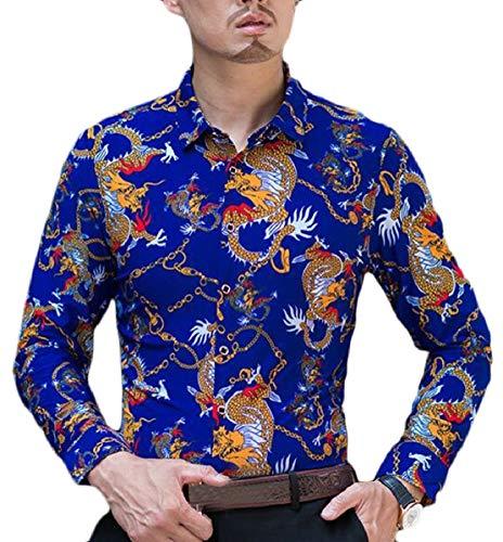 Zhaoabao-au Bouton Des Hommes Occasionnels Amincissent Manches Longues Chemise Imprimée Vers Le Bas Des Chemises Habillées 1