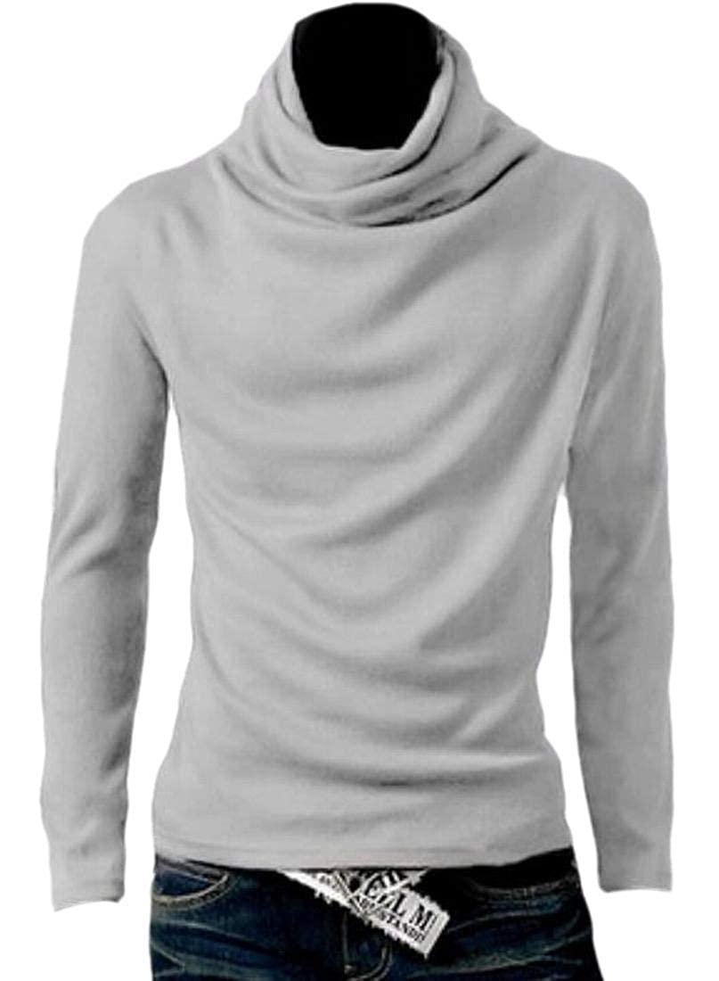 WSPLYSPJY Mens Long Sleeve Lounge Cowl Neck Curvy Pullover Solid Tees Top