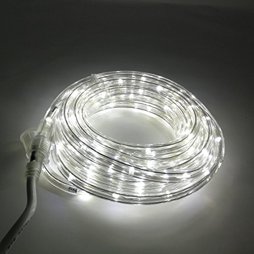 KXY UL Certified 16 Feet 80 LED Connectable Rope Tube Light Indoor Outdoor Party Holiday Light Daylight White
