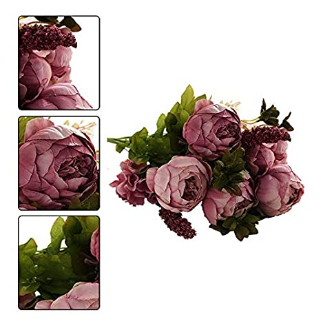 Blanc JUNGEN Bouquet de Fleur de pivoine Fleur artificielles Floral Plastique Printemps Fausse fleur Decoration pour Maison Mariage F/ête