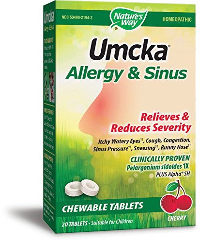 Nature's Way Umcka Allergy and Sinus Homeopathic Chewable Tablets, Cherry, 20 Count