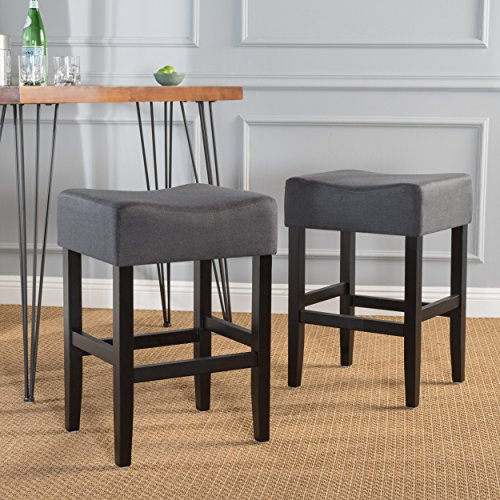 Portofino Backless Dark Charcoal Fabric Counter Stools Set of 2
