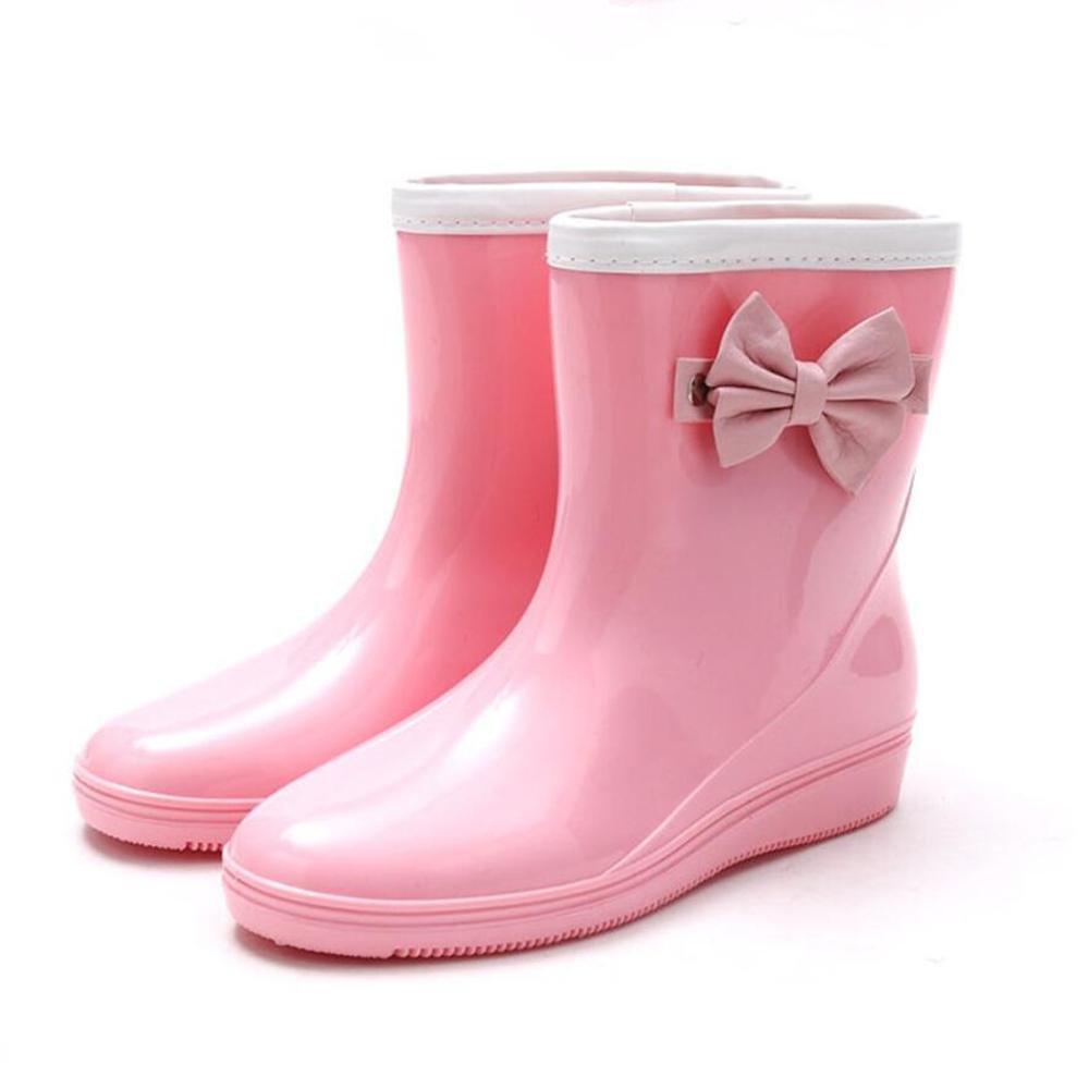 SIHUINIANHUA Frau Anti-Rutsch-Regen Stiefel Stiefel Bogen Regen Stiefel Anti-Rutsch-Regen Rohr Wasser Schuhe Schuhe Rosa 36 2de2bc