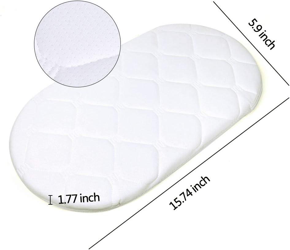 Here/&There matelas lit berceau de b/éb/é ovale en Coco D/éhoussable Sans Traitement Chimique blanc, 40 * 75cm