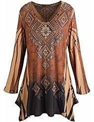 CATALOG CLASSICS Womens Tunic Top - Mountain Spirit Vintage Pattern Brown Shirt