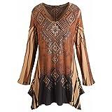 CATALOG CLASSICS Women's Tunic Top - Mountain Spirit Vintage Pattern Brown Shirt - 1X