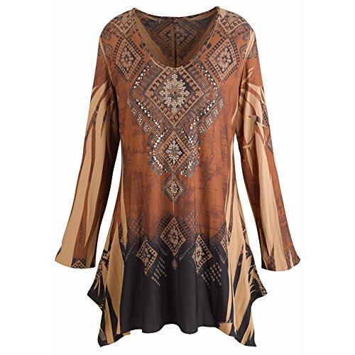 CATALOG CLASSICS Women's Tunic Top - Mountain Spirit Vintage Pattern Brown Shirt - 2X
