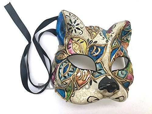 Brand NEW Venetian Cat Woman Mask White Black Kitty Halloween Costume Dress up Party Wear (Blue accent) -