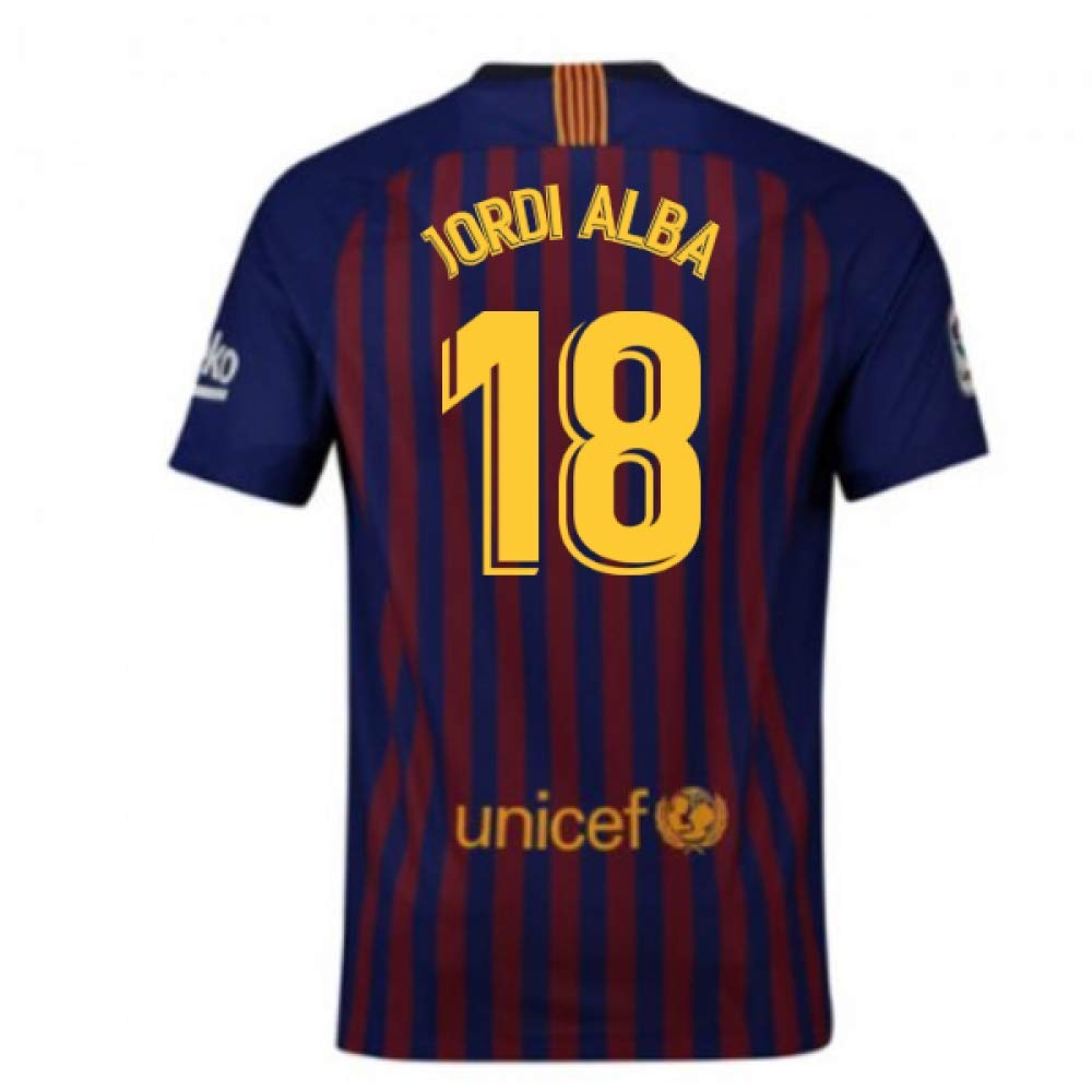 2018-2019 Barcelona Home Nike Football Soccer T-Shirt Trikot (Jordi Alba 18) - Kids