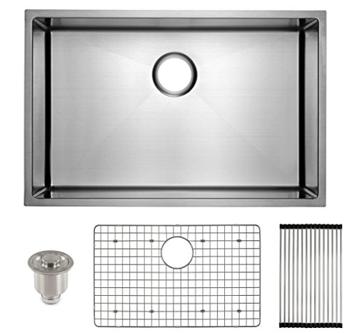 (Frigidaire Undermount Stainless Steel Kitchen Sink, 10mm Radius Corners, 16 Gauge, Deep Basin, 29