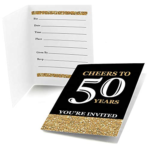 Big Dot of Happiness Adult 50th Birthday - Gold - Fill-in Birthday Party Invitations (8 Count)