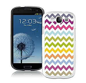 Samsung Galaxy S3 Case Durable Soft Silicone TPU Multi Grunge Chevron Pattern Colorful White Cell Phone Case Cover Accessories