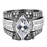 Slendima 3Pcs Fashion Three Layer Cubic Zirconia Rings Set Women Wedding Engagement Jewelry Gift Black US 9