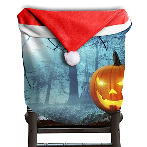 EDYE Halloween Kürbis in Schauriger Umgebung Bei Mondschein Christmas Xmas Themed Dinning Seat Chair Cap Hat Covers Ornaments for Backers Slipcovers Wraps Coverings Decorations Protector Set