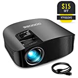 "Projector, GooDee Video Projector 200"" LCD Home Theater Projector Support 1080P HDMI VGA AV USB MicroSD for Home Entertainment, Party and Games"