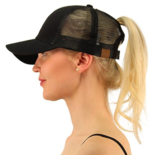 C.C Ponytail Messy Buns Trucker Ponycaps Plain Baseball Visor Cap Dad Hat Black by C.C