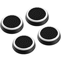4pcs Silicone Anti-slip Striped Gamepad Keycap Controller Thumb Grips Protective Cover for PS3/4 for X box One/360 black & white