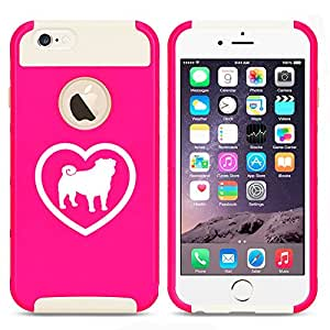 Apple iPhone 6 Plus / 6s Plus Shockproof Impact Hard Case Cover Pug Heart (Hot Pink-White)