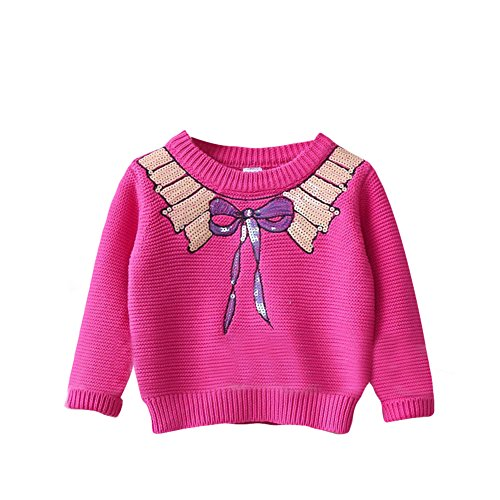 Baby Girl Knit Sweater Toddler Kid Sequins Bow Pullover Sweatshirt pink (Pink Bow Knit Sweater)