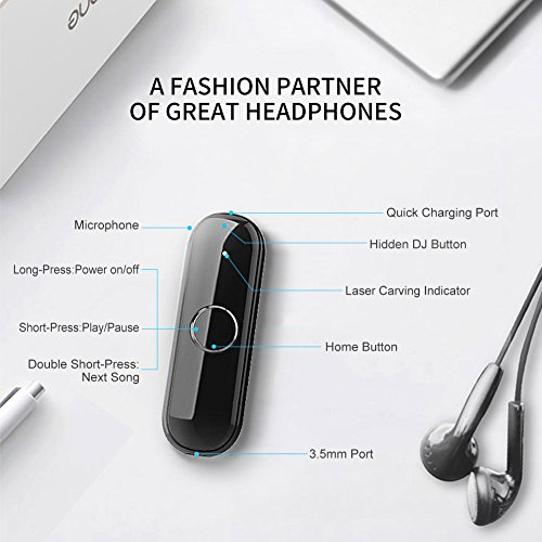 BT Adapter Bluetooth Dongle for Headphones Stereo Car, ULBRE Wearable Low Latency Audio Receiver w Clip n Microphone, Wireless Portable 3.5mm Aux Kit for Earphone, Headset, Speaker, Sport, Answer Call by ULBRE (Image #6)