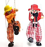 SPARIK ENJOY Clown Hand Marionette Puppet Children's Wooden Marionette Toys Colorful Marionette Puppet Doll Parent-Child Interactive Toys- Red
