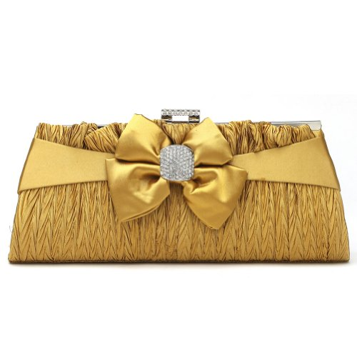 Damara Women's Pleated Snap Closure Wedding Evening Bag Lady Clutch Handbag,Gold