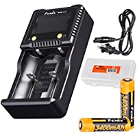 Fenix ARE-C1+ Plus Two Channel Digital Charger with 2x Fenix 3400 mAh high capacity 18650 batteries and a LumenTac Battery Organizer