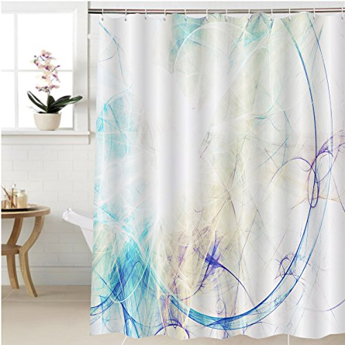 Gzhihine Shower curtain abstract blue smoke motion on white modern bright futuristic dynamic background for wallpaper Bathroom Accessories 48 x 72 (Bright Victorian Copper Accessories)
