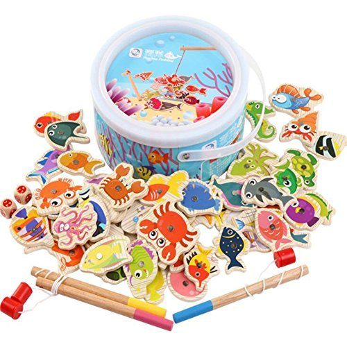 GZQ Fishing Toy Wooden Magnetic Puzzles Board Fishing Play Games Set with 60 Ocean Animals and 3 Poles for Boys Kids Girls Toddlers Party Favors Christmas Gift