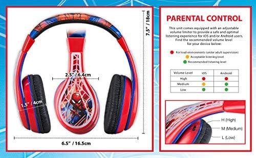 Spiderman Kids Headphones, Adjustable Headband, Stereo Sound, 3.5Mm Jack, Wired Headphones for Kids, Tangle-Free, Volume Control, Foldable, Children's Headphones Over Ear for School Home, Travel