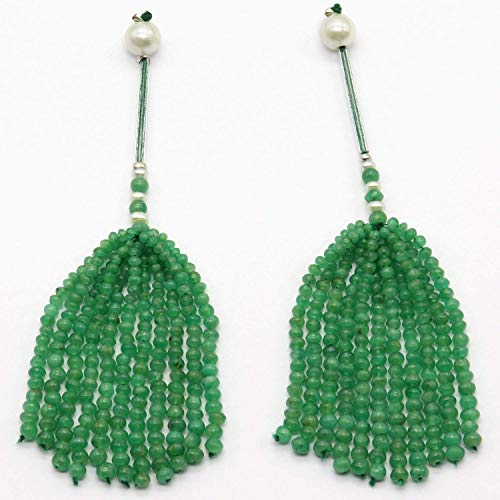 100% Natural EMERALD Smooth Roundel Shape Beaded Tassels for Earring, Women Earring Pair, Earring Tassel, For Jewelry Makers