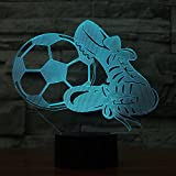 3D Soccer and Shoes Night Light Touch Table Desk Optical Illusion Lamps 7 Color Changing Lights Home Decoration Xmas Birthday Gift