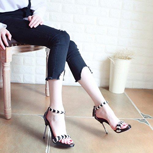 e i Europeo sexy donna alti tacchi stile Scarpe toe a Estate con sandali zipper scarpe in nuovo toe YMFIE fpPq6P8