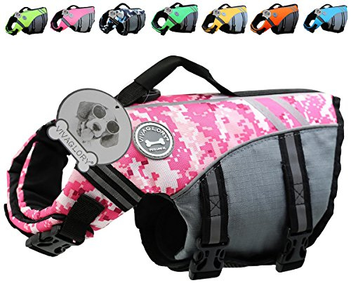 Vivaglory New Sports Style Ripstop Dog Life Jacket with Superior Buoyancy & Rescue Handle, Camo Pink, ()