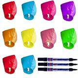 Flying Lanterns,Shellvcase 10Pcs Flying Lanterns,Multicolor Color Wish Lanterns with 3Pcs Markers Pens,Fully Assembled, 100% Biodegradable, Great for Birthdays, Ceremonies, Weddings and More