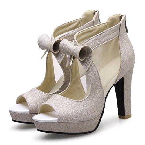 Sandals Peep Shoes TAOFFEN Women Toe Gold Elegant waz6gqnPI