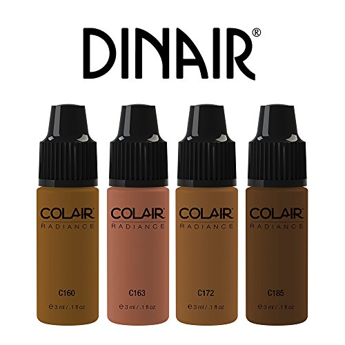 Mini Trial Size Bottles Airbrush Makeup Foundation | 4pc DARK Shades Mini Trial Size Set | Colair Radiance: Satin | Size 3ml / 0.1 oz by Dinair