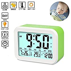 Digital Alarm Clock Talking Alarm Clocks Battery Operated Intelligent Noctilucent & Snooze Function Smart Backlight 4.5'' Display for Adults/Kids Home & Office (Green)