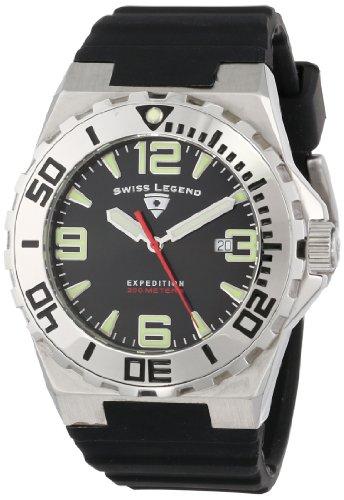 Mens Expedition Black Dial (Swiss Legend Men's 10008-01 Expedition Black Dial Black Silicone Watch)