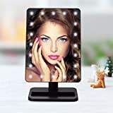LuckyFine Coating Touch Screen Battery Operated Cordless LED Lighted Movable Vanity Mirror With 20 Bright LED Light Black 300x185x117 mm