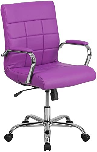 Flash Furniture Mid-Back Purple Vinyl Executive Swivel Office Chair