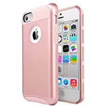 iPhone 5C , Jwest 5c 2 in 1 [Silicone & PC] Hybrid Dual-Layer Heavy Duty Rugged Slim Bumper Shockproof Protective Rear Case Cover for Apple iPhone 5C Rose Gold