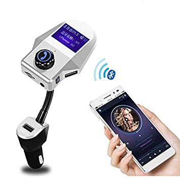 3.1A Caricabatteria da auto SODIAL Bluetooth Car Kit vivavoce MP3 Audio Music Player 3.5mm Ricevitore AUX Music FM Transmitter Modulator 5V argento
