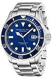 Stuhrling Original Men's 417.03 Aquadiver Regatta Espora Swiss Quartz Stainless Steel Dive Watch