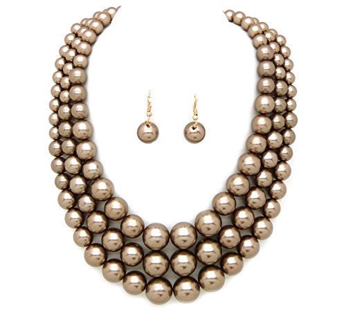 Women's Simulated Faux Three Multi-Strand Pearl Statement Necklace and Earrings Set - Pearl Jewelry Faux