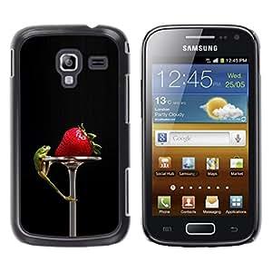 TopCaseStore / la caja del caucho duro de la cubierta de protección de la piel - Funny Tasty Strawberry & Lizzard - Samsung Galaxy Ace 2 I8160 Ace II X S7560M